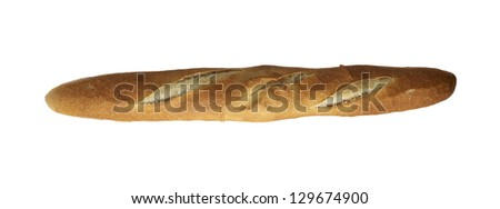 White french baguette bread  isolated on white background - stock photo