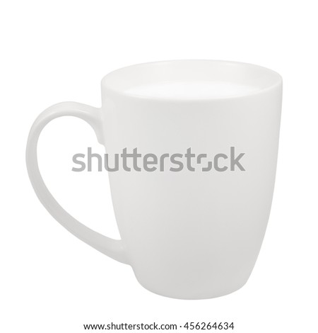 White Fresh Milk Mug, China Porcelain Cup, Large Detailed Isolated Macro Closeup, Vertical Studio Shot, Healthy Food Lifestyle Hot Drink Concept, Calcium, Vitamins And Proteins Source Metaphor