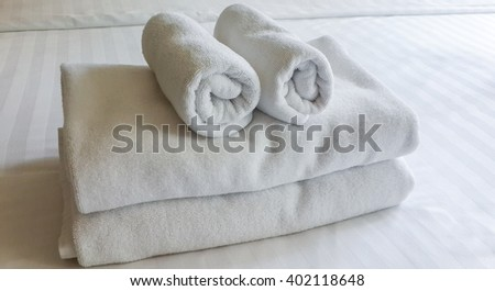 White fresh towels in hotel, close up