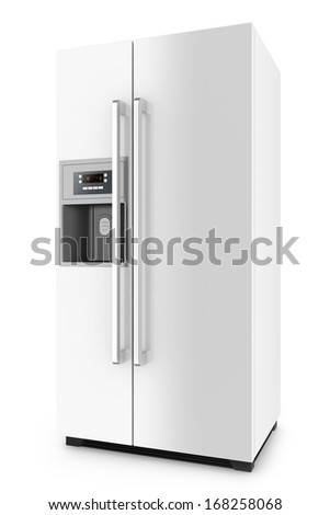 White fridge with side-by-side door system isolated on white background. - stock photo