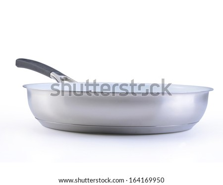 white  frying pan with a ceramic covering isolated on a white background - stock photo