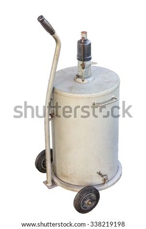 white fuel tank with wheel isolate on white background - stock photo