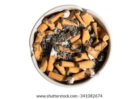 White full ashtray isolated on white background. - stock photo