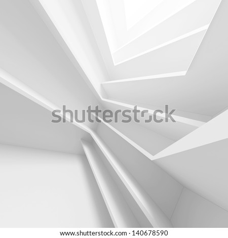 White Futuristic Building Background - stock photo