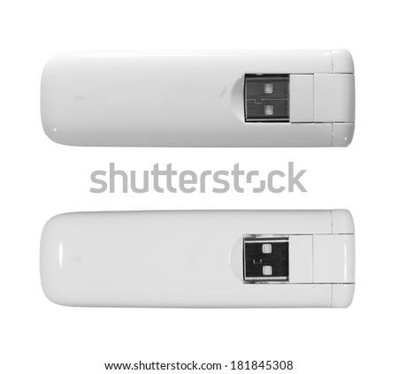 White 3g, 4g, LTE usb wireless mobile modem isolated on white, two light setup - stock photo