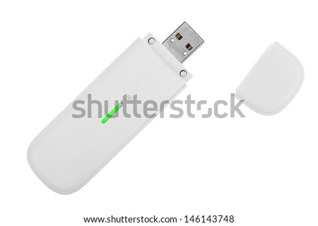White 3g usb wireless mobile modem isolated on white - stock photo