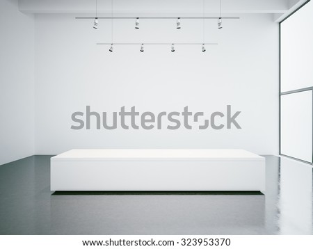 White gallery interior with empty walls and panoramic windows. 3d render