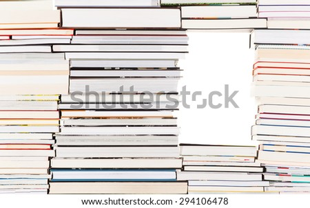 White gap in a pile of books - stock photo