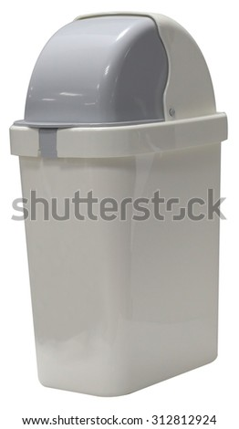 White garbage plastic bins isolated on white background