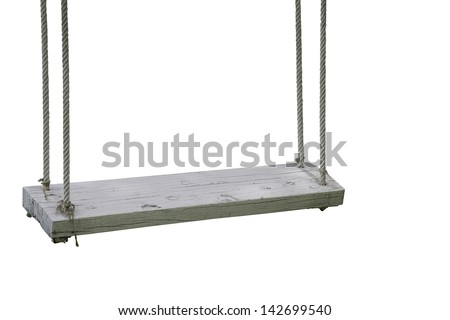 White garden swing hanging isolate on white background - stock photo