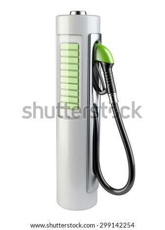 White gas pump - Battery. Use of nonconventional energy sources. 3d render image isolated on a white background. - stock photo