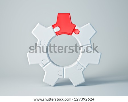 white gear with a red cog isolated - stock photo