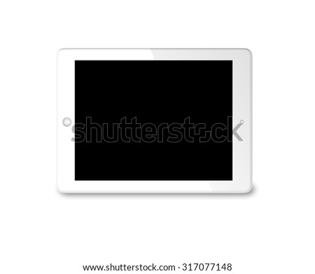 white generic tablet computer (tablet pc) on white background. Modern portable touch pad device with Black  screen - stock photo