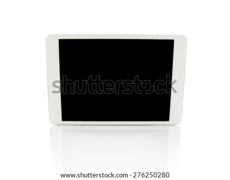 White generic tablet computer (tablet pc without camera) on white background. Modern portable touch pad device with black screen. - stock photo