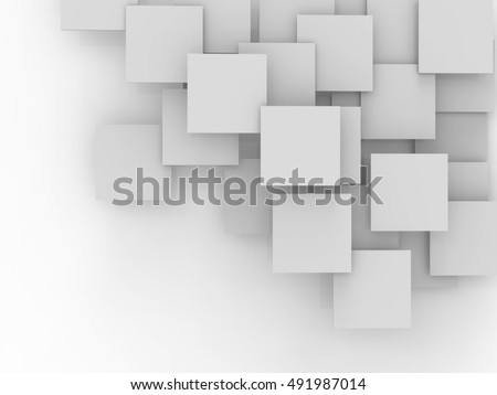 White geometric square background