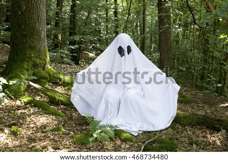 white ghost in forest