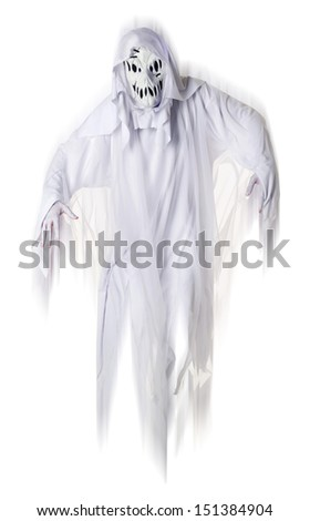 White Ghost  isolated on white - stock photo