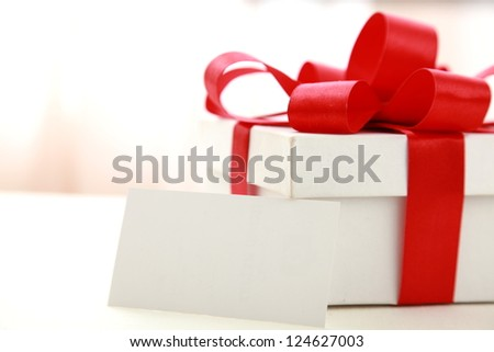 White gift box and card
