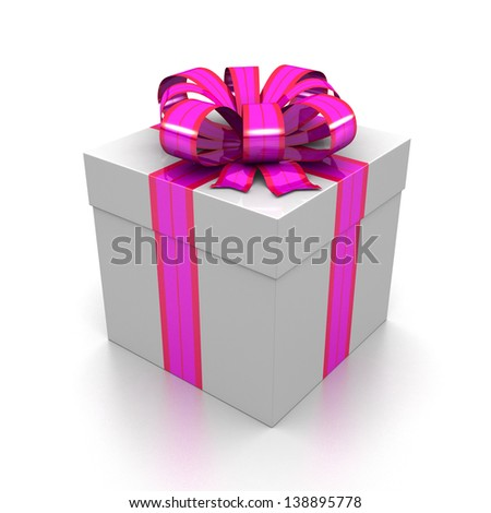 white gift box closed with striped ribbons of pink . insulated on white background with reflection , a design concept with a festive sense. 3d illustration