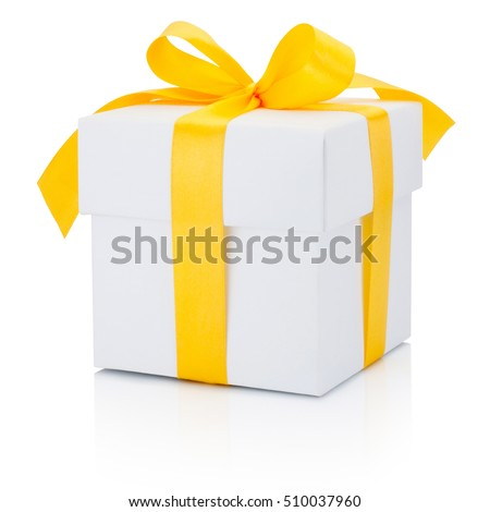 White gift box tied yellow ribbon Isolated on white background