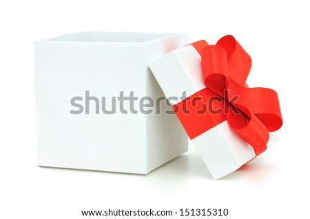 White gift box with a red bow on white background - stock photo