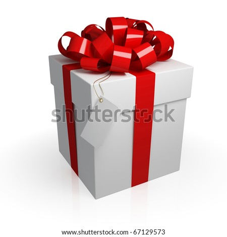 White gift box with a red ribbon. Isolated on white background. 3d rendered.