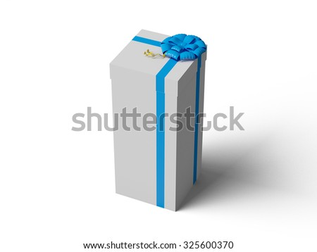 White gift box with blue ribbon bow, isolated on white