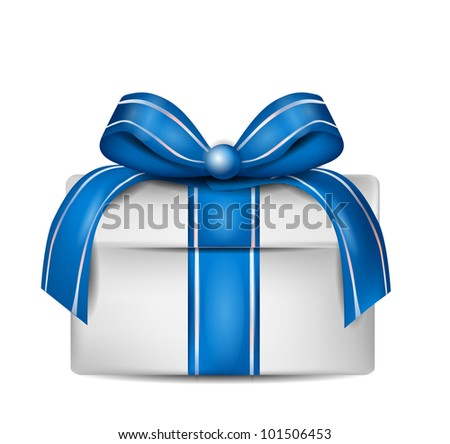 White Gift Box with Blue Ribbon Isolated on White