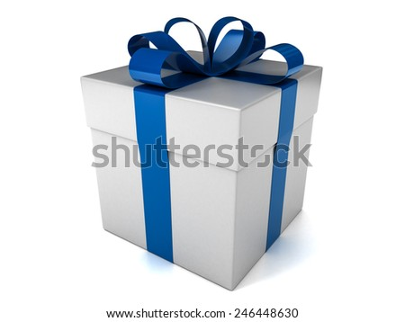 White Gift Box with Blue Ribbon Isolated on White Background. 3D Illustration - stock photo