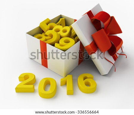 White gift box with figures and 2016 3d rendering - stock photo