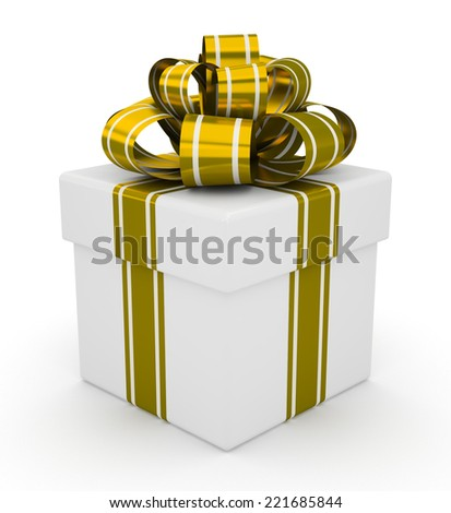 White gift box with gold bow isolated on white background