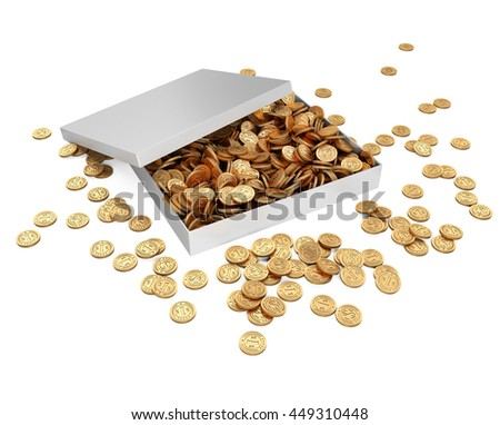 White gift box with golden coins. Isolated on a white background 3d image. - stock photo
