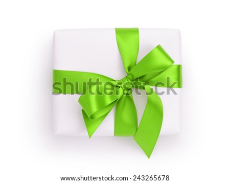 white gift box with green ribbon bow, from above on white - stock photo