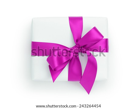 white gift box with purple ribbon bow, from above on white - stock photo
