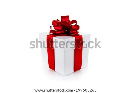 White gift box with red ribbon and bow isolated