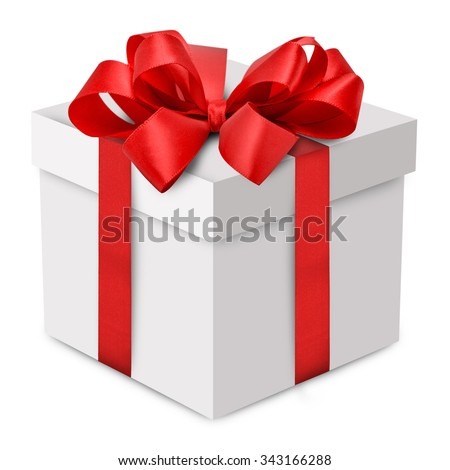 White gift box with red ribbon bow - stock photo