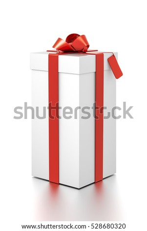 White gift box with red ribbon bow tie from far side angle. Tall, vertical, square and medium size. 3D illustration isolated on white background.