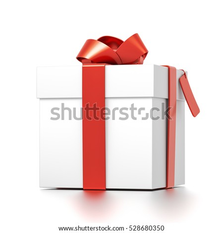 White gift box with red ribbon bow tie from front far side angle. Square, cube and medium size. 3D illustration isolated on white background.