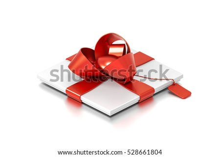 White gift box with red ribbon bow tie from isometric angle. Thin, slim, horizontal, square and small size. 3D illustration isolated on white background.