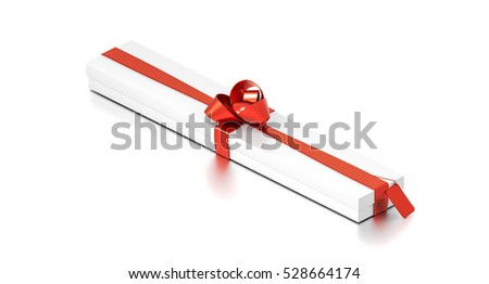 White gift box with red ribbon bow tie from isometric angle. Thin, wide, horizontal, long, rectangle and large size. 3D illustration isolated on white background.