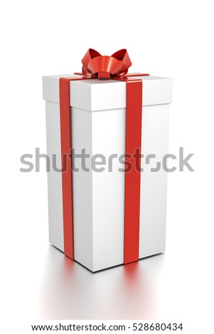 White gift box with red ribbon bow tie from side angle. Tall, vertical, square and medium size. 3D illustration isolated on white background.