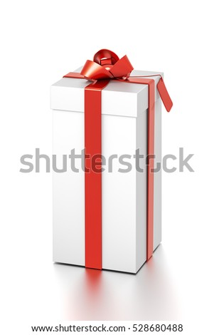 White gift box with red ribbon bow tie from top front far side angle. Tall, vertical, square and medium size. 3D illustration isolated on white background.