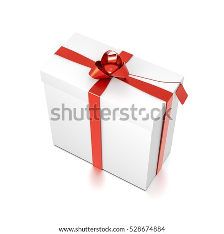 White gift box with red ribbon bow tie from top side closeup angle. Tall, wide, vertical, rectangle and medium size. 3D illustration isolated on white background.