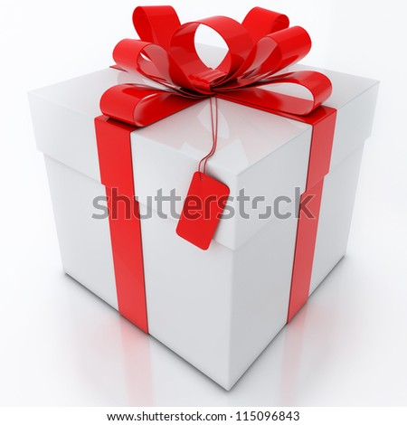 White Gift Box with Red Ribbon on White Background