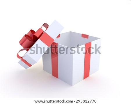 white gift box with red ribbon with clipping path