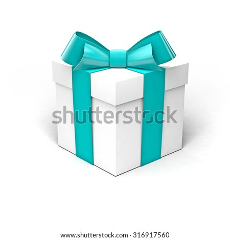 White gift box with turquoise ribbon, soft shadow, isolated on clean white background
