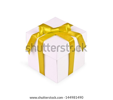 White gift box with yellow ribbon bow isolated on white background.