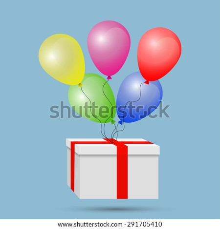 White gift box wrapped in red tape, with colored balloons on a rope jpeg - stock photo