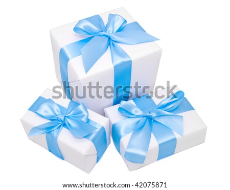 White gift boxes isolated on white