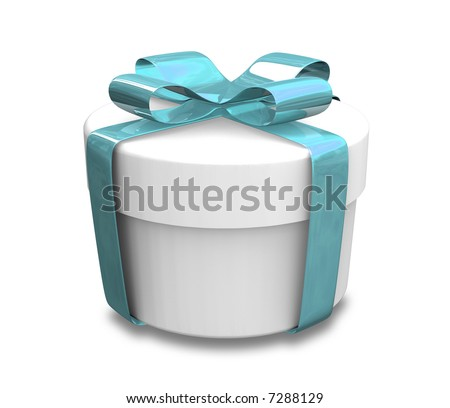 white gift with blue wrap (3D)